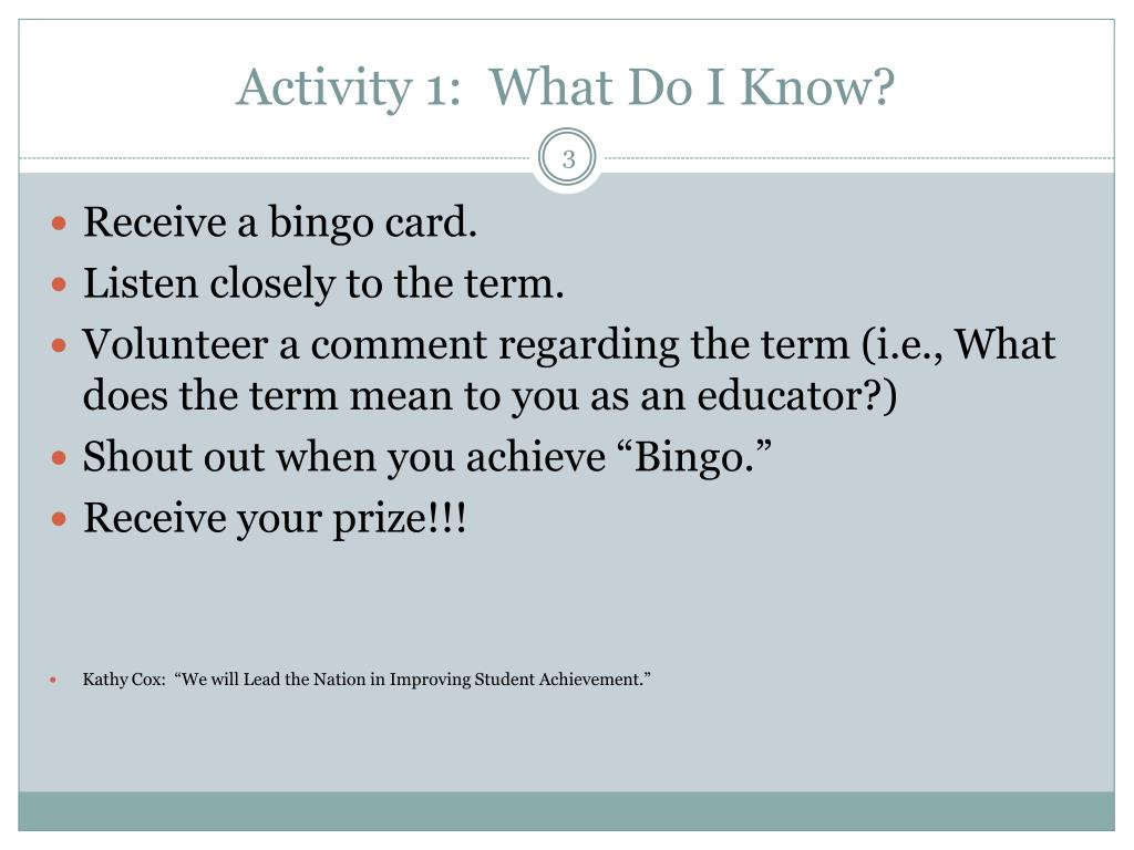 Activity 1:  What Do I Know?