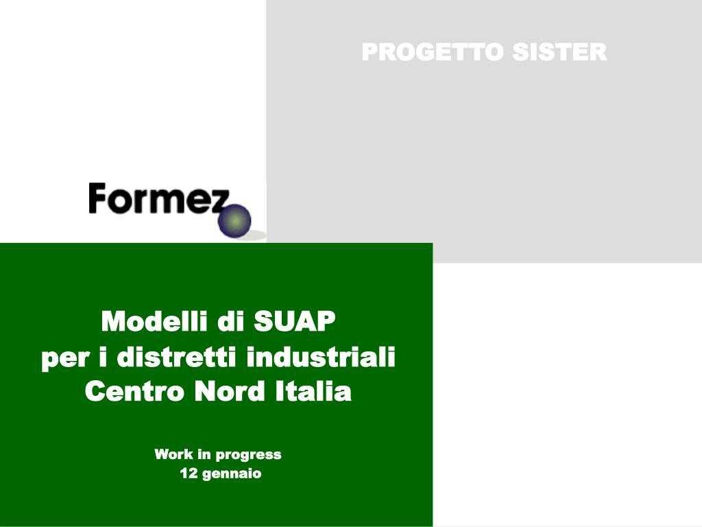 modelli di suap per i distretti industriali centro nord italia work in progress 12 gennaio l.