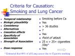 criteria for causation smoking and lung cancer