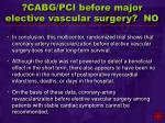 cabg pci before major elective vascular surgery no