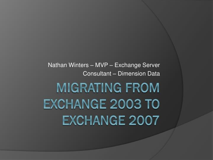 Nathan winters mvp exchange server consultant dimension data