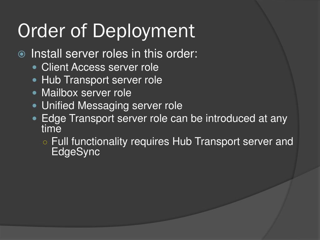 Order of Deployment