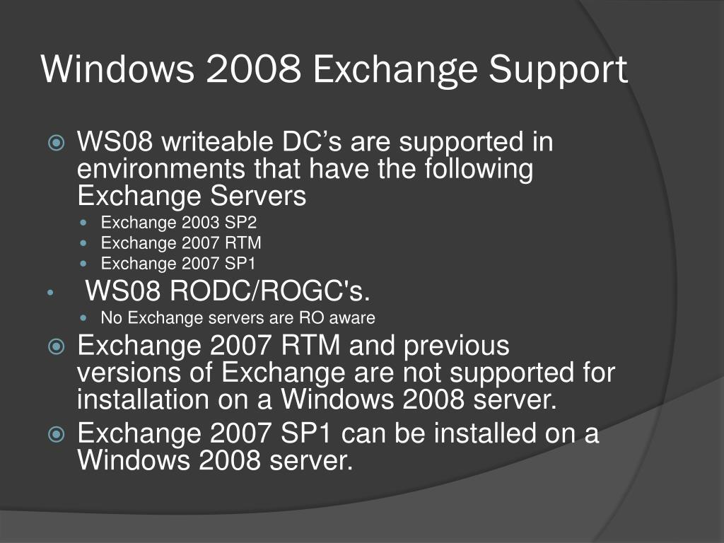Windows 2008 Exchange Support