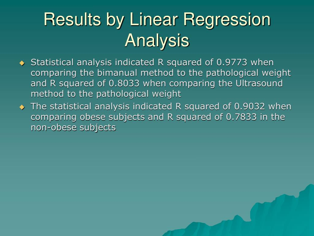 Results by Linear Regression Analysis