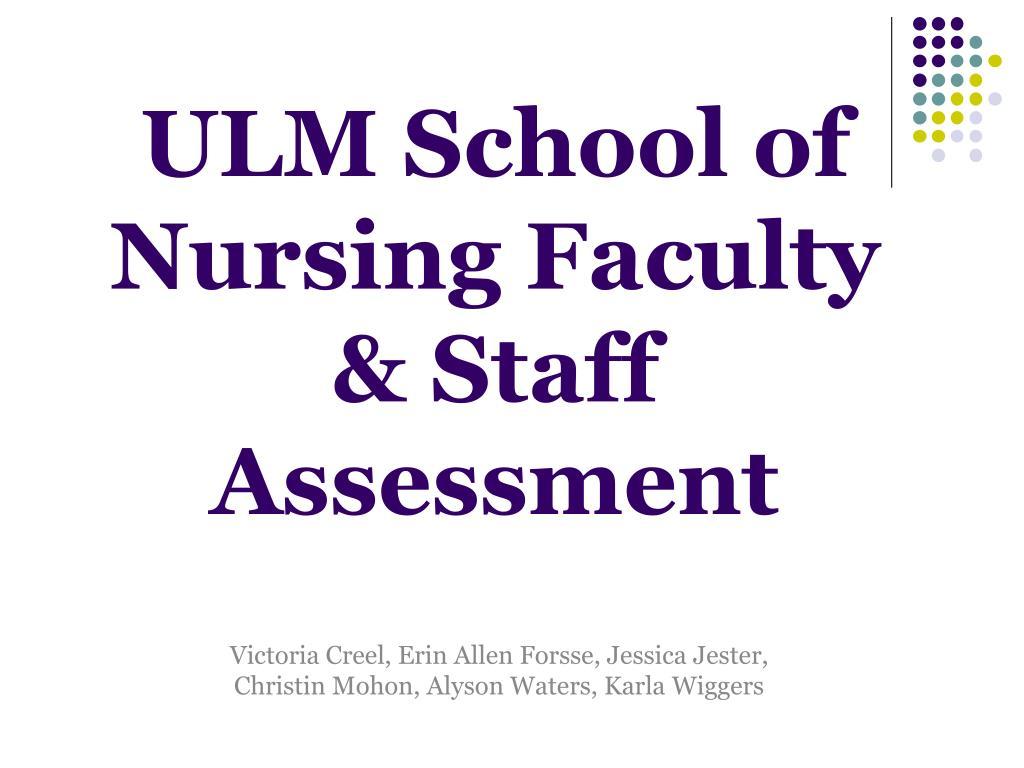 ulm school of nursing faculty staff assessment l.