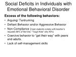 social deficits in individuals with emotional behavioral disorder
