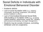social deficits in individuals with emotional behavioral disorder10