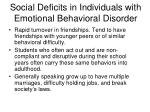 social deficits in individuals with emotional behavioral disorder11