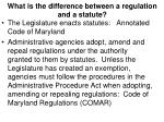 what is the difference between a regulation and a statute