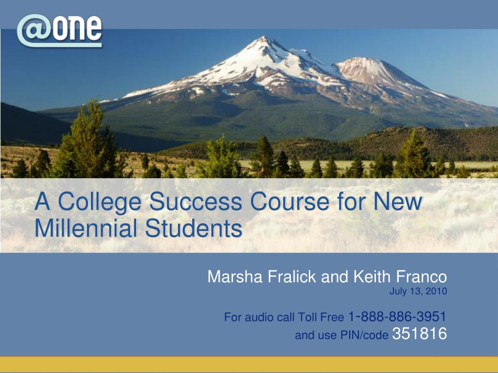 a college success course for new millennial students l.