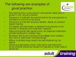 the following are examples of good practice