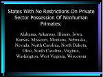 states with no restrictions on private sector possession of nonhuman primates