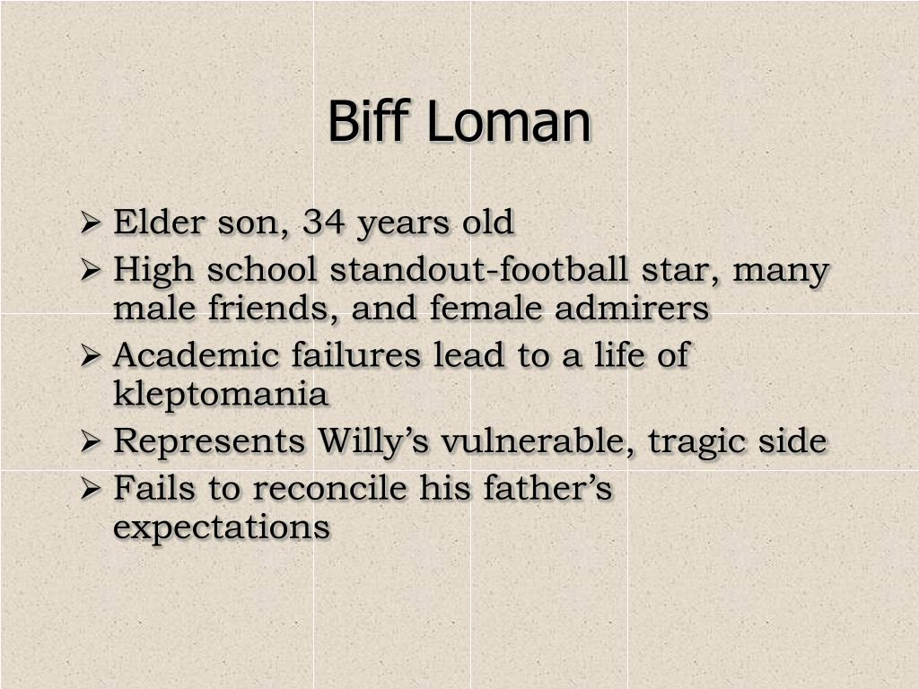 biff loman and football and kleptomania in death of a salesman by arthur miller An explanation of biff loman's role in death of a salesman by arthur miller  biff was a star football player in high school, with scholarships to two major.