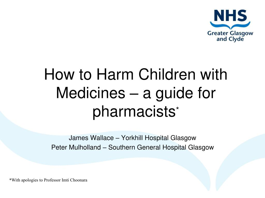 how to harm children with medicines a guide for pharmacists l.