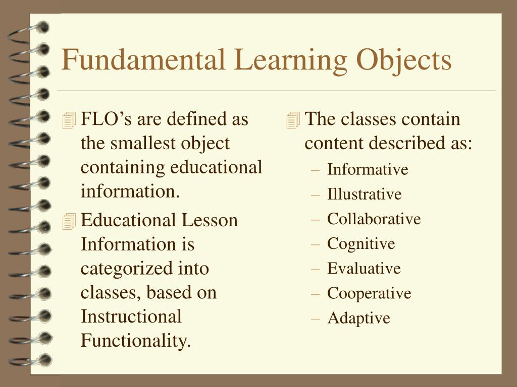 FLO's are defined as the smallest object containing educational information.