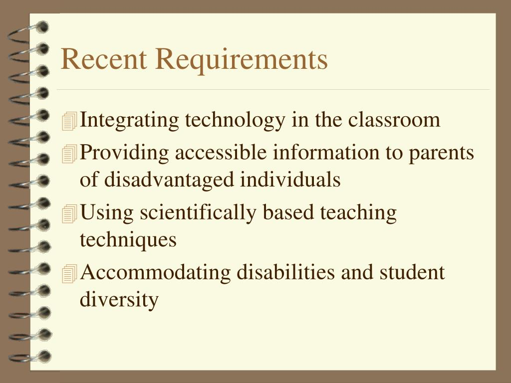 Recent Requirements