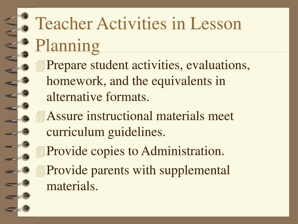 Teacher Activities in Lesson Planning