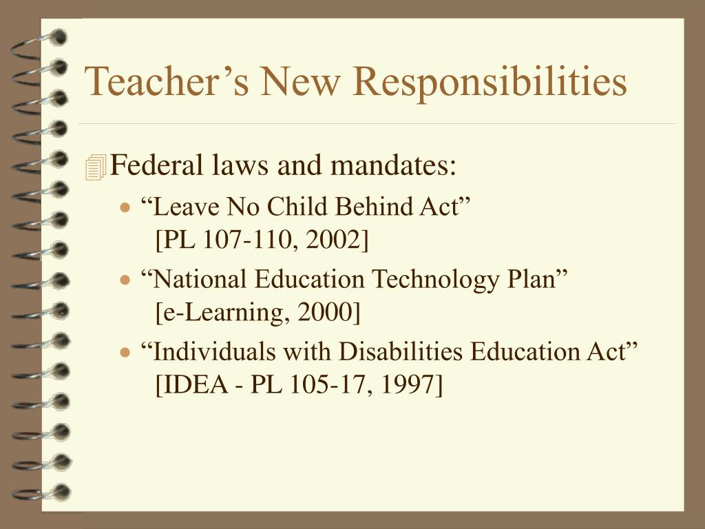 Teacher's New Responsibilities