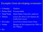 examples from developing economies