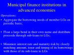 municipal finance institutions in advanced economies