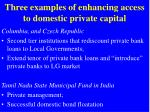 three examples of enhancing access to domestic private capital