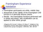 framingham experience validation