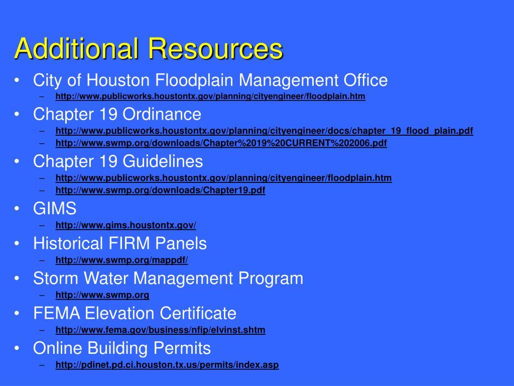 City of Houston Floodplain Management Office