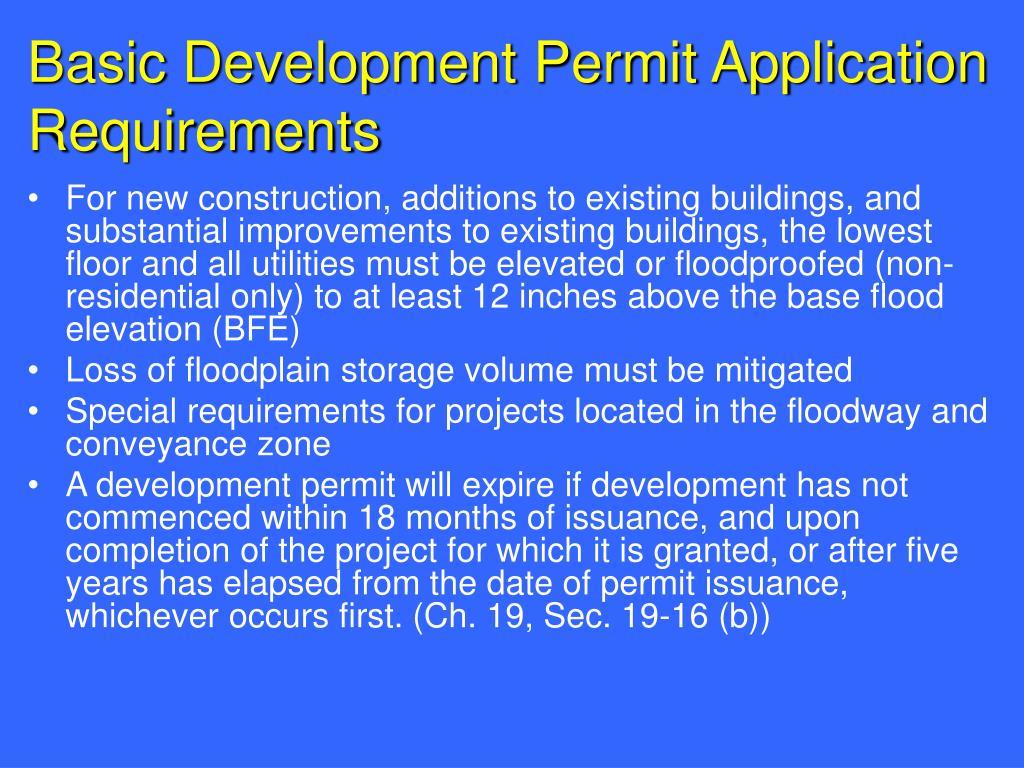 Basic Development Permit Application Requirements