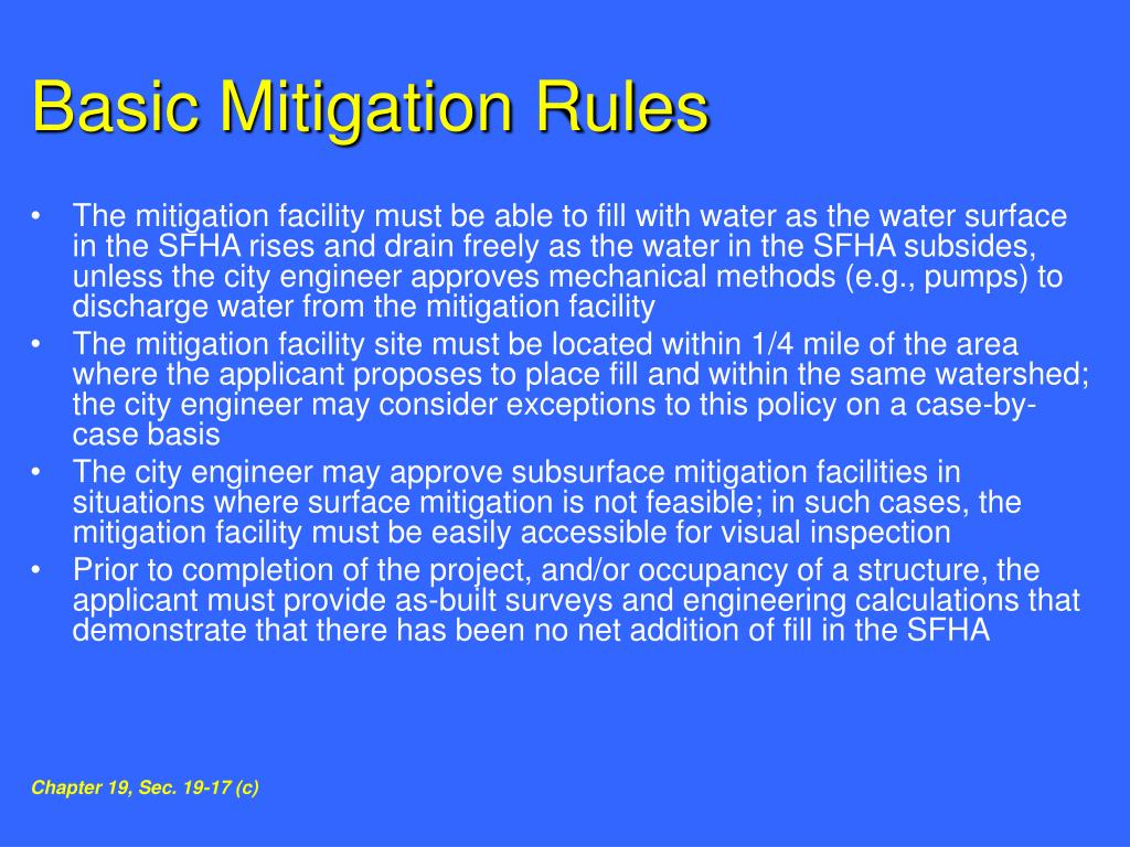 Basic Mitigation Rules