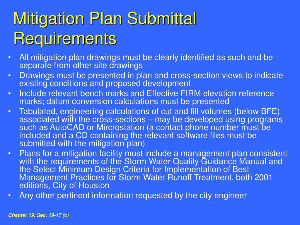 Mitigation Plan Submittal Requirements