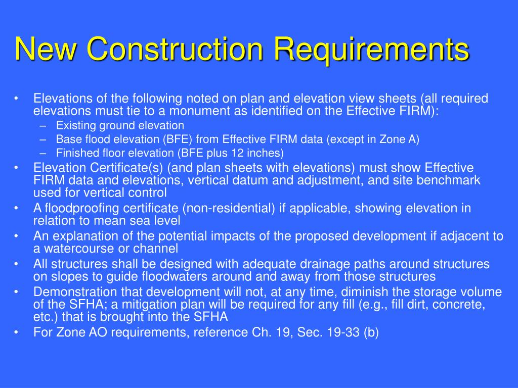 New Construction Requirements