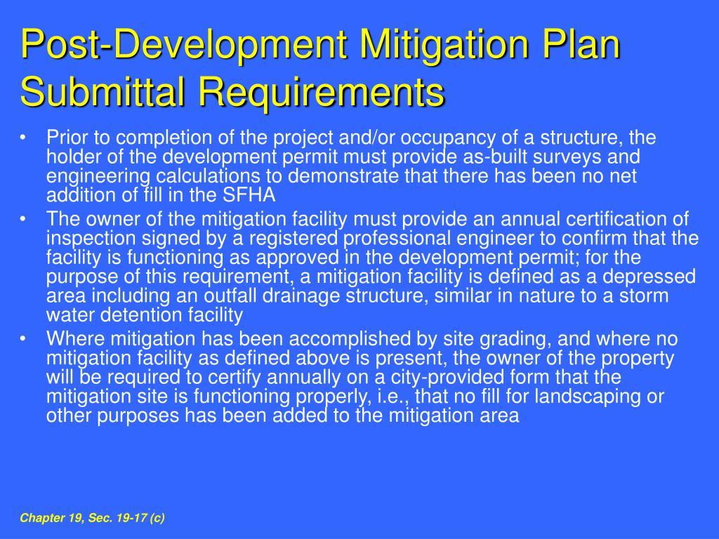 Post-Development Mitigation Plan Submittal Requirements