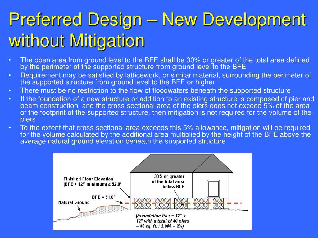 Preferred Design – New Development without Mitigation