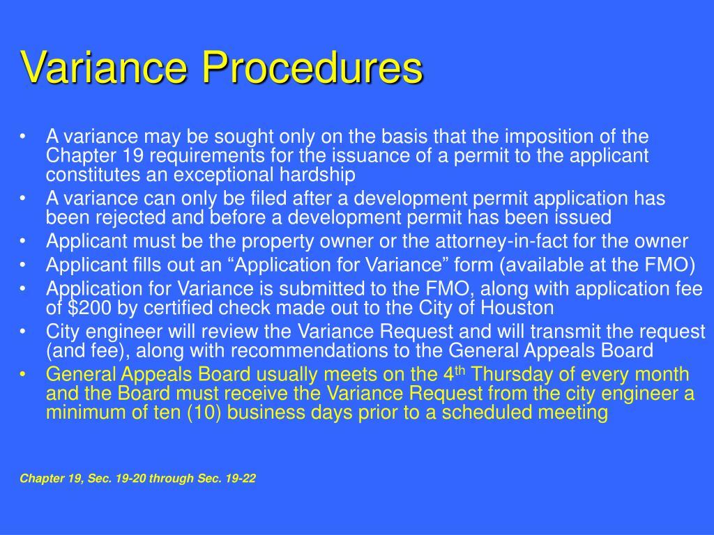 Variance Procedures
