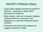 netcdf 4 release status
