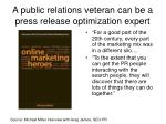 a public relations veteran can be a press release optimization expert