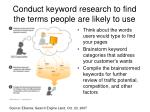 conduct keyword research to find the terms people are likely to use