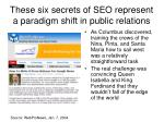 these six secrets of seo represent a paradigm shift in public relations