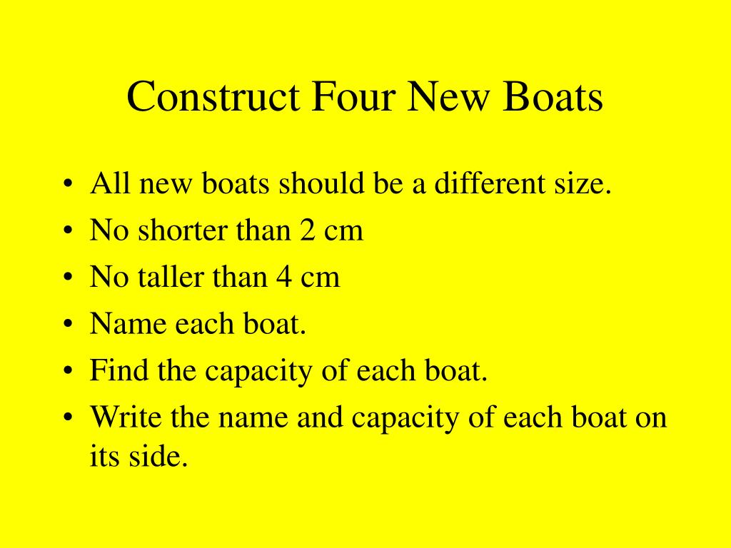 Construct Four New Boats