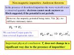 non magnetic impurities anderson theorem