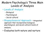 modern psychology s three main levels of analysis