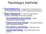 psychology s subfields