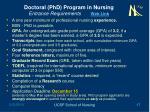 doctoral phd program in nursing entrance requirements web link