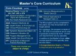 master s core curriculum