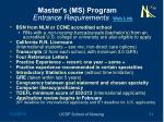 master s ms program entrance requirements web link