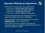 specialty offerings by department