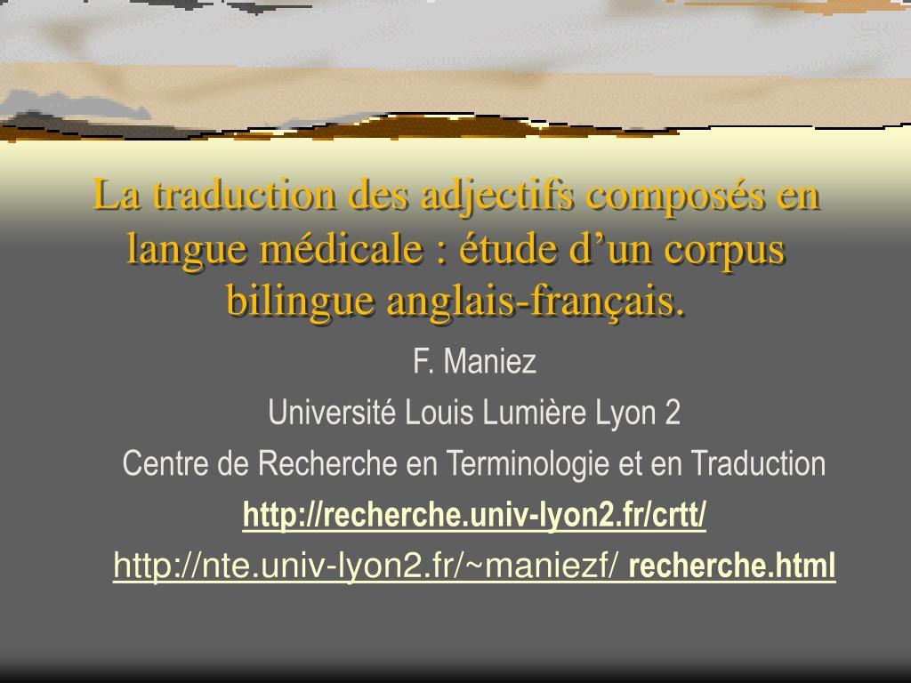 la traduction des adjectifs compos s en langue m dicale tude d un corpus bilingue anglais fran ais l.