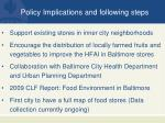 policy implications and following steps