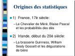 origines des statistiques
