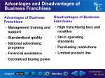 advantages and disadvantages of business franchises